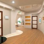 просторная прихожая с подвесным потолком