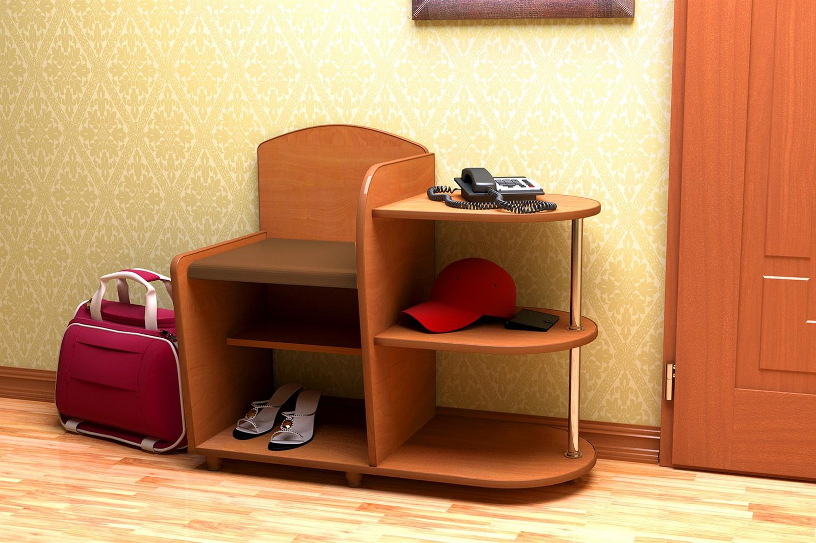 Скамейка с полочкой для телефона
