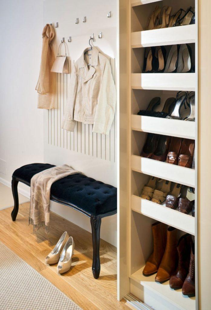 высокая этажерка для большого количества обуви