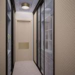дизайн прихожей с узким коридором и большим зеркальным шкафом