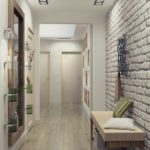 белый дизайн узкого коридора