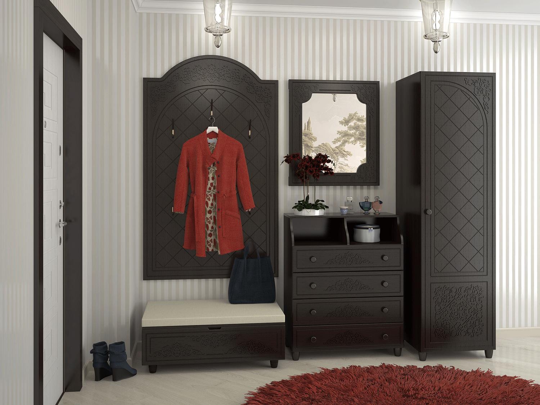Фото мебели для коридора из темного дерева