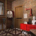 Мебель в прихожую в стиле лофт с красной обувницей