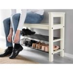 Полка для обуви из дерева белого цвета
