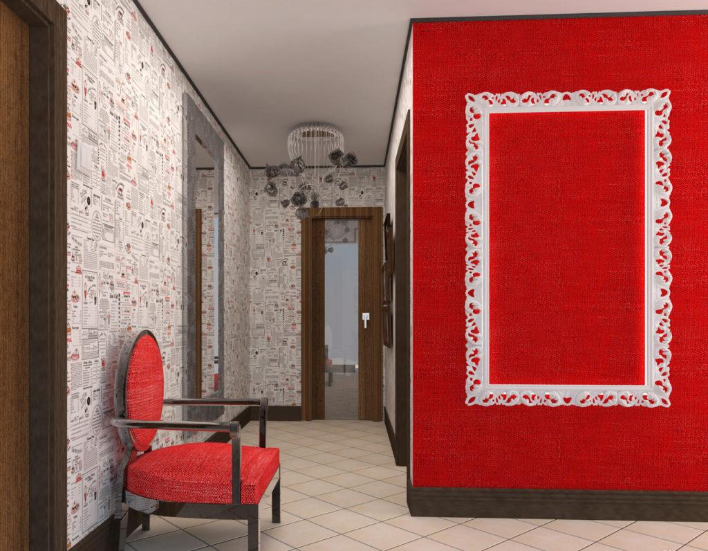 красные обои в коридоре