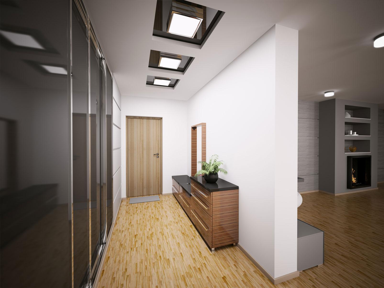 потолок из гипсокартона в коридоре дома фото желтых