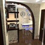 совмещение кухни и прихожей с проходом в виде арки