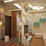 квартира студия с небольшой стеной-перегородкой