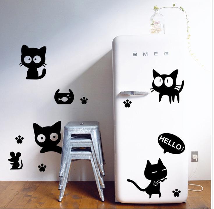 наклейки переходящие от холодильника на стену