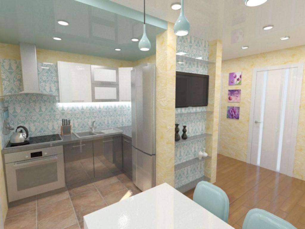 кухня совмещенная с прихожей современный стиль