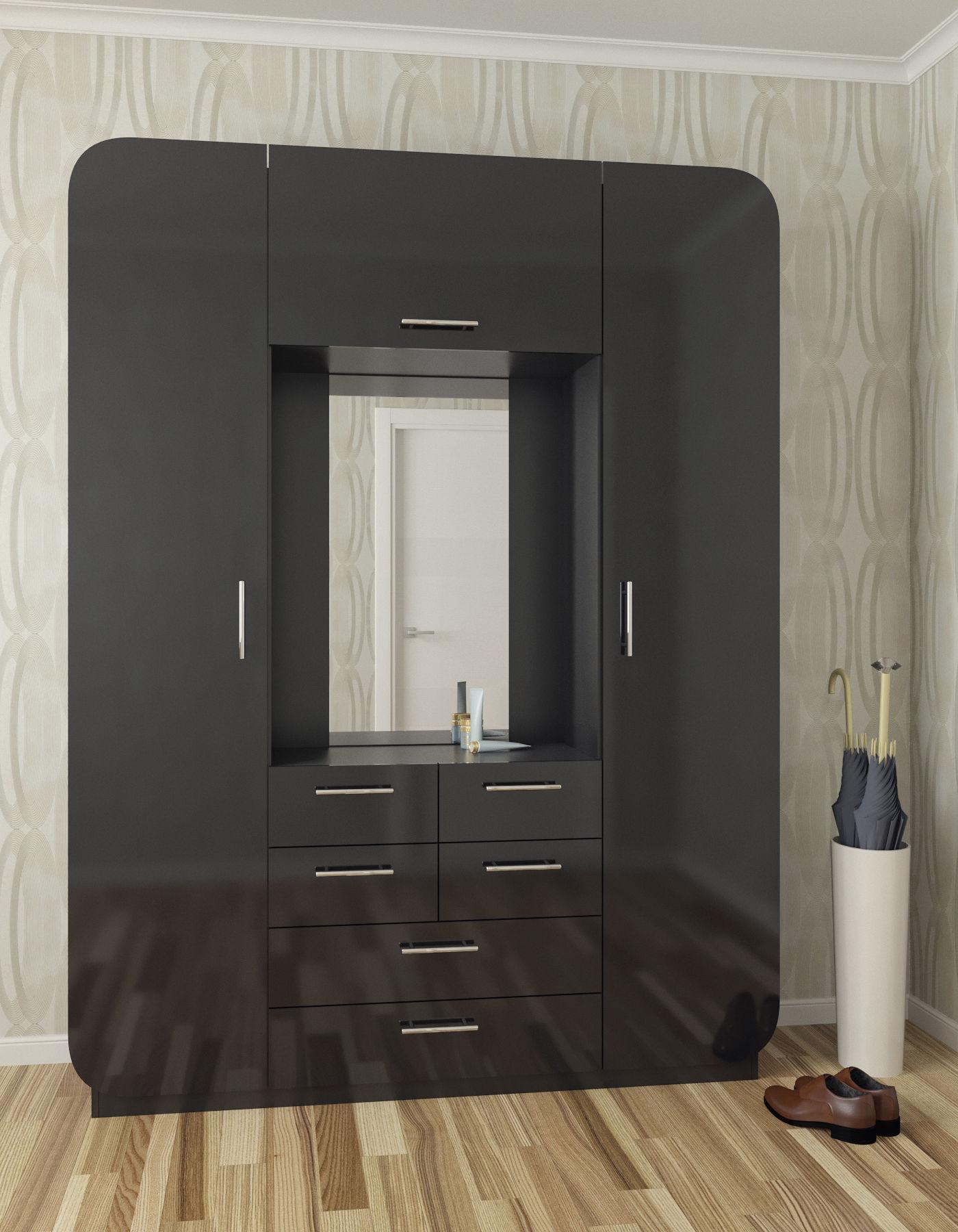 черный глянцевый шкаф в коридоре