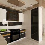 современная кухня с глянцевой стеной