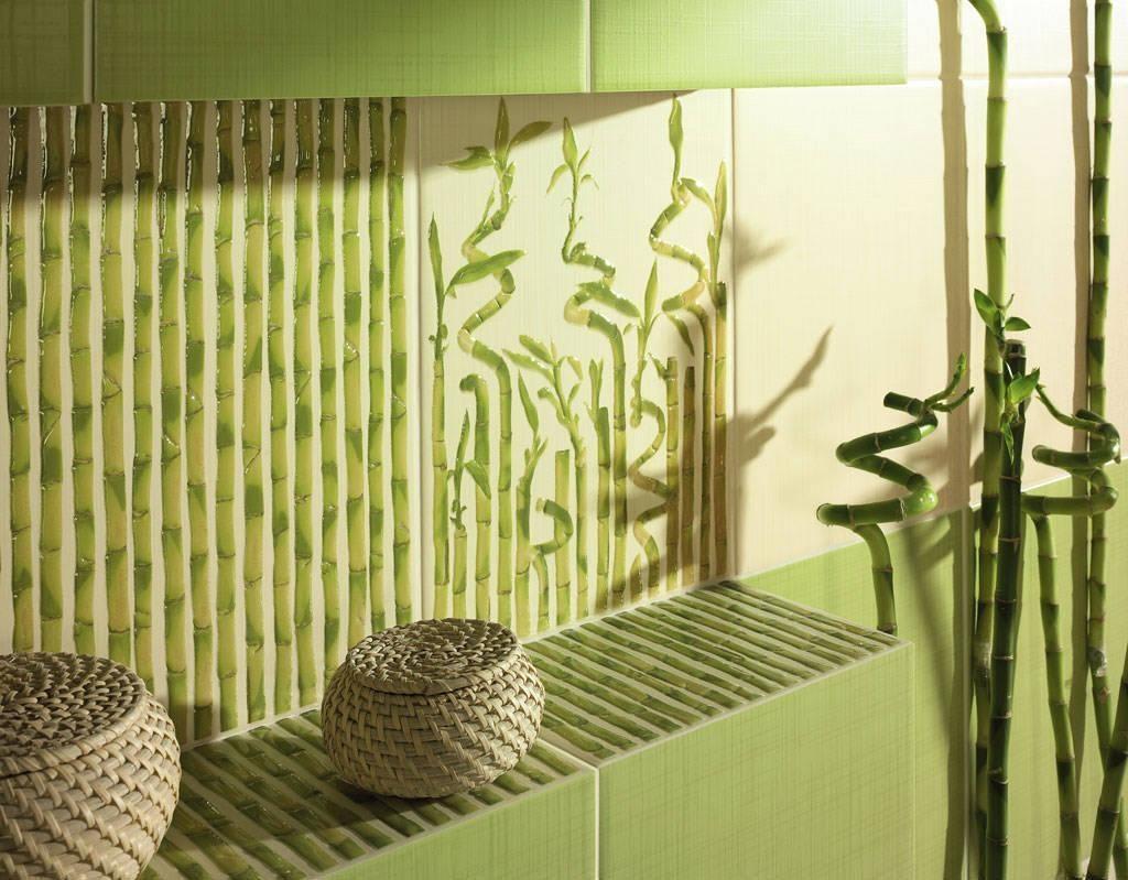 фото фисташковых бамбуковых обоев