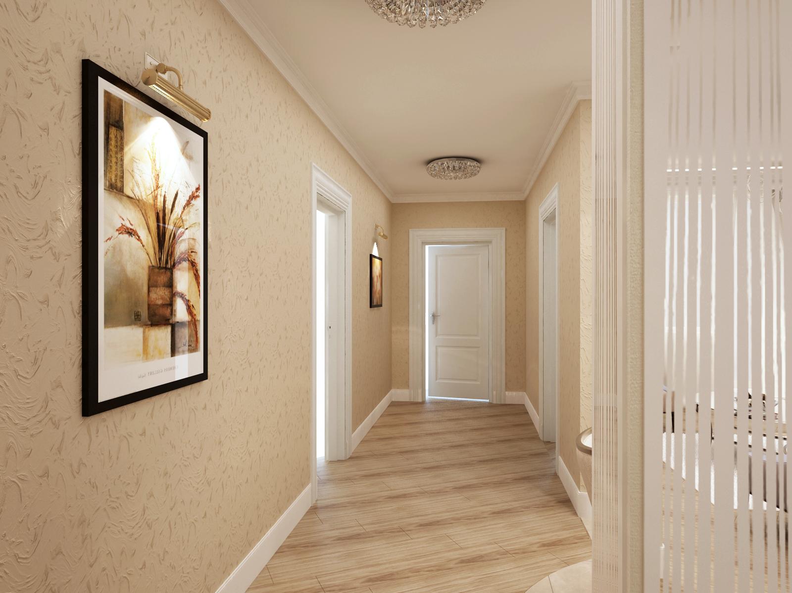 бежевые обои в коридоре