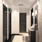 коридор с черными дверьми