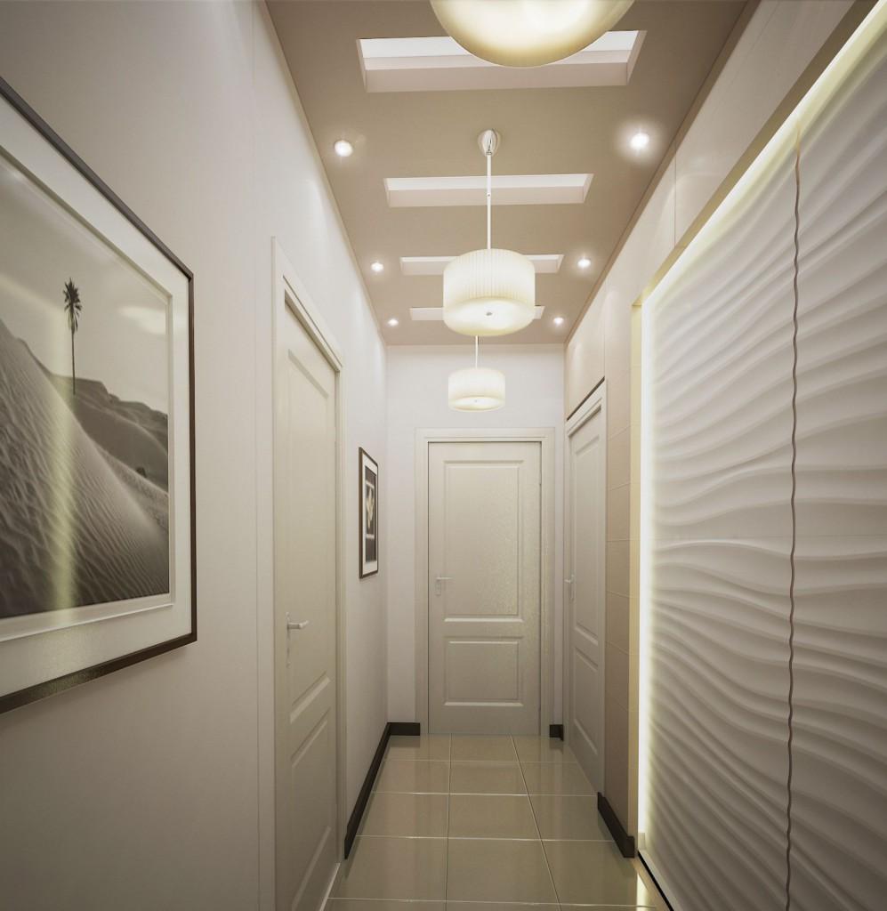 коридор в светлых тонах с хорошим освещением