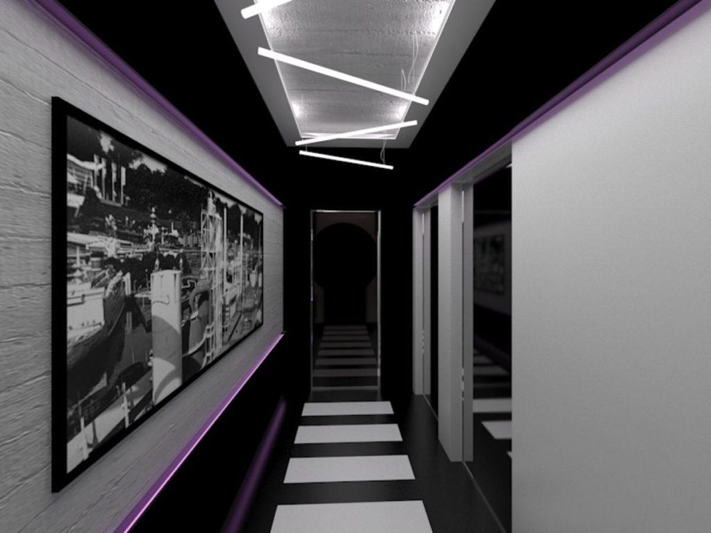 светильники в интерьере прихожей в стиле хай-тек