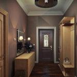 дизайн коридора с темными дверьми и обоями