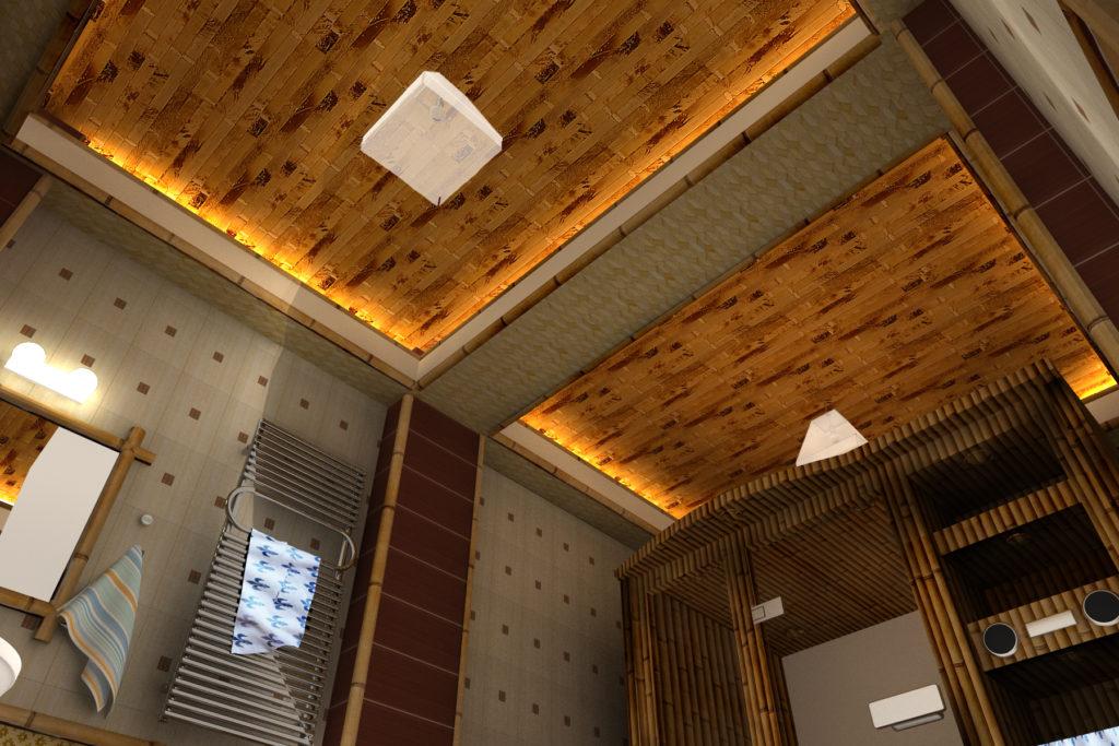 отделка потолка бамбуком