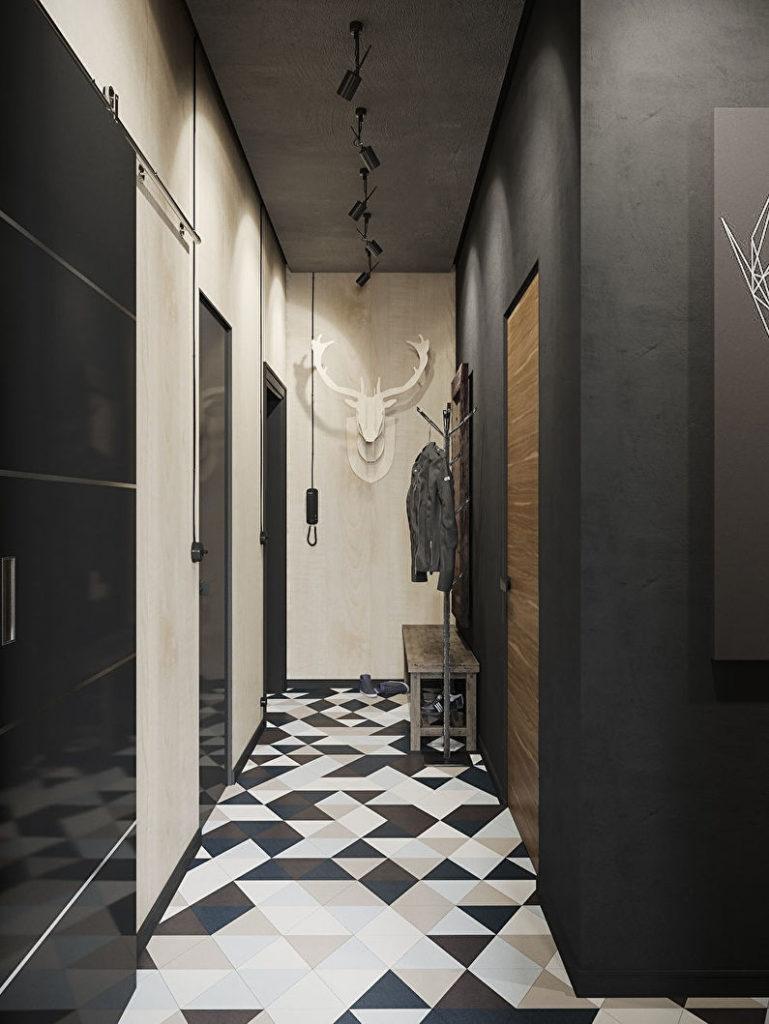 черно-белая плитка в стиле лофт