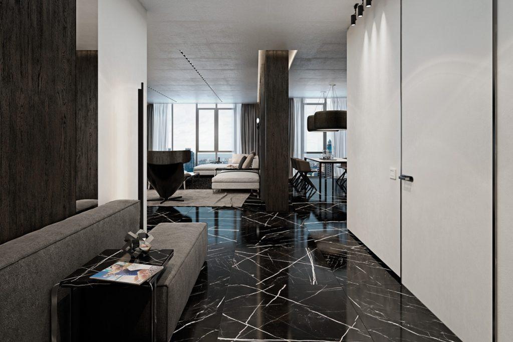 минимализм в коридоре с напольной плиткой