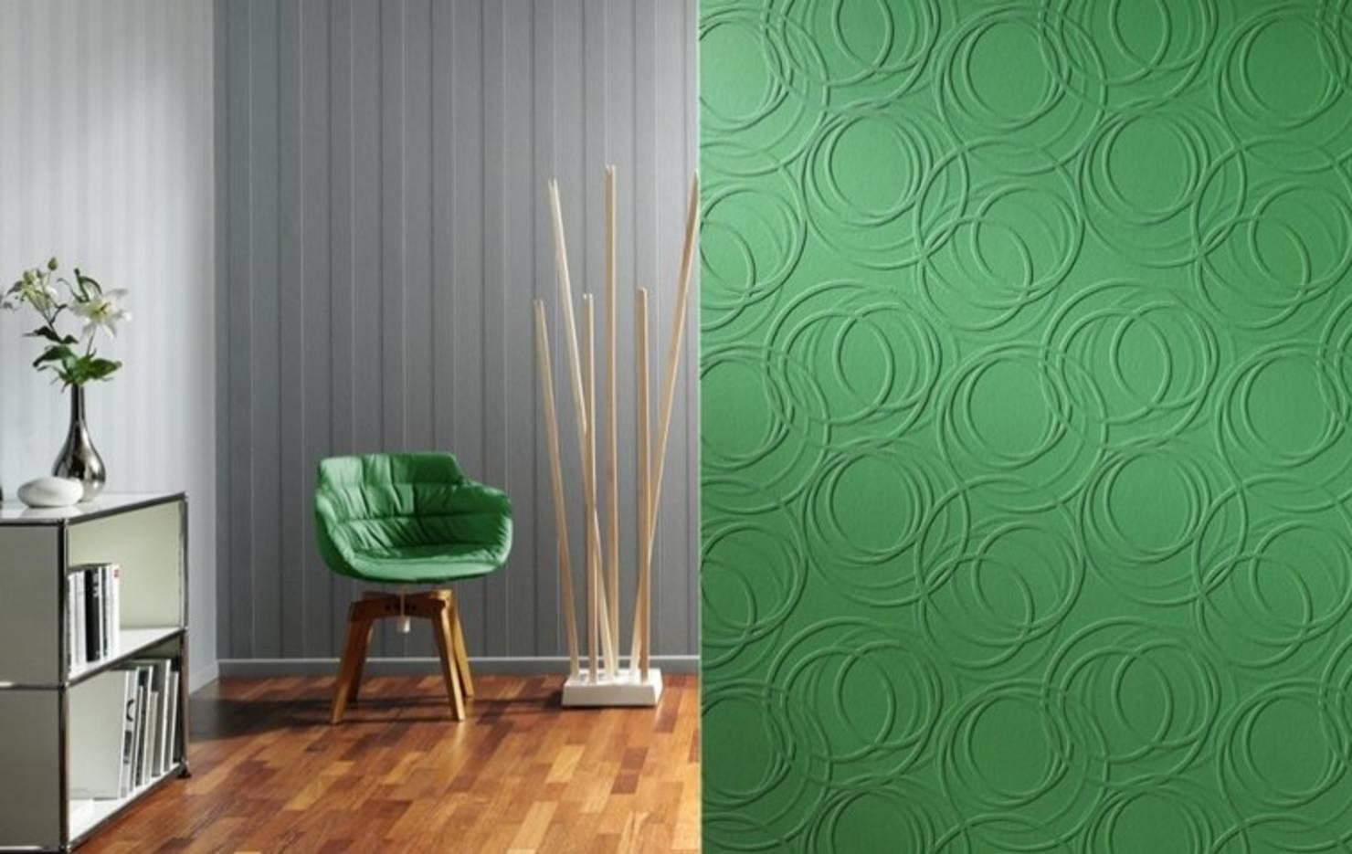 зеленные обои в интерьере квартиры