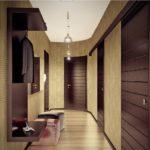 интерьер коридора с темными дверьми
